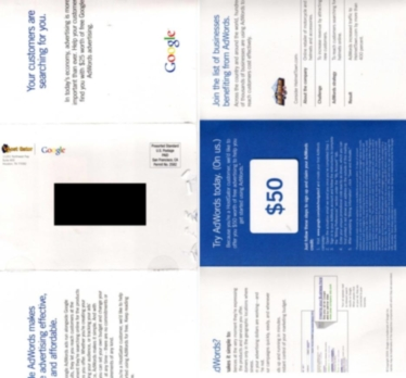 Google Adwords coupon codes in the mail